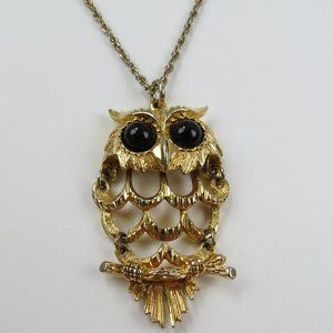 Vintage 70s Gold Jointed Owl Pendant with Chain